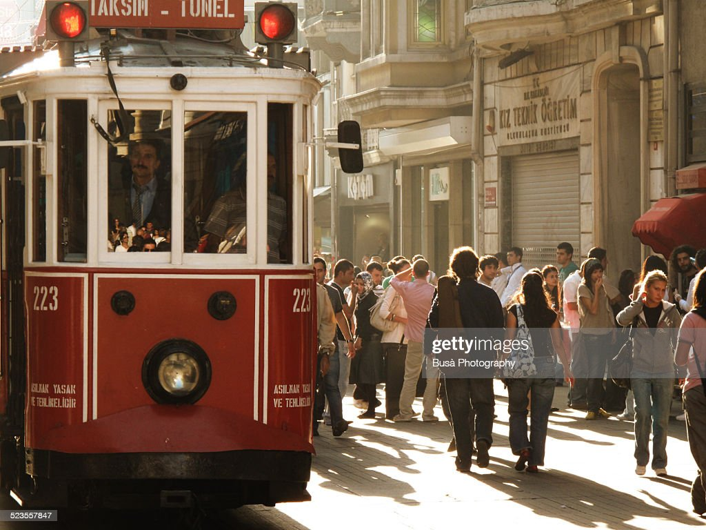 Streetcar in Istiklal Caddesi (Istiklal Avenue)
