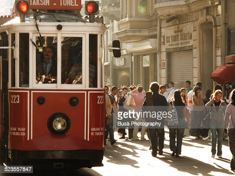 Streetcar in Istiklal Caddesi (Istiklal Avenue)