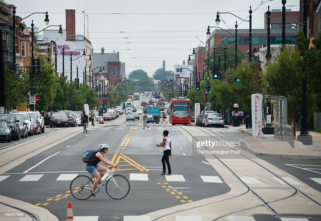 A streetcar is pictured on H St. NE. Streetcar operators train on the H Street/Benning Line on Wednesday August 6, 2014 in Washington, DC.