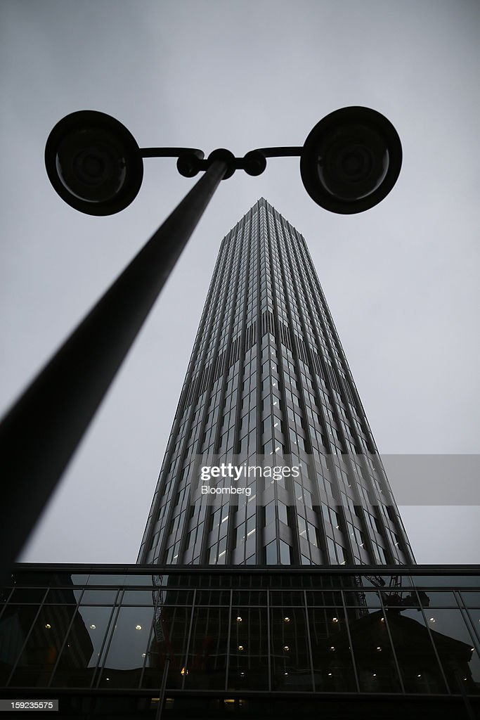 A streetlight stands and frames the European Central Bank (ECB) headquarters in Frankfurt, Germany, on Wednesday, Jan. 9, 2013. German two-year notes declined, pushing yields to the highest in 11 weeks, after European Central Bank President Mario Draghi said the decision to leave the key interest rate at 0.75 percent was 'unanimous.' Photographer: Ralph Orlowski/Bloomberg via Getty Images