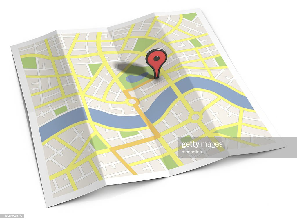 Streetmap route & location marker : Stock Photo