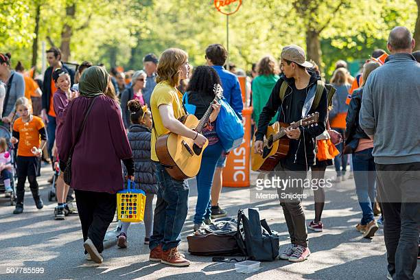 Streetmusicians performing in Vondelpark