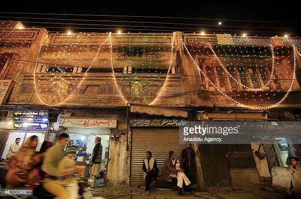Streets and buildings are decorated with lights and ornaments within the ceremony marking the 1444th anniversary of the birthday of Prophet Mohammad...