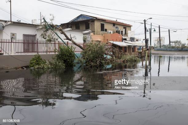 Streets in the Guaynabo suburb are flooded after Hurricane Maria made landfall September 21 2017 in San Juan Puerto Rico The majority of the island...