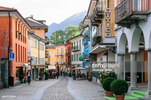 Streets in the historic city center of Ascona, Switzerland