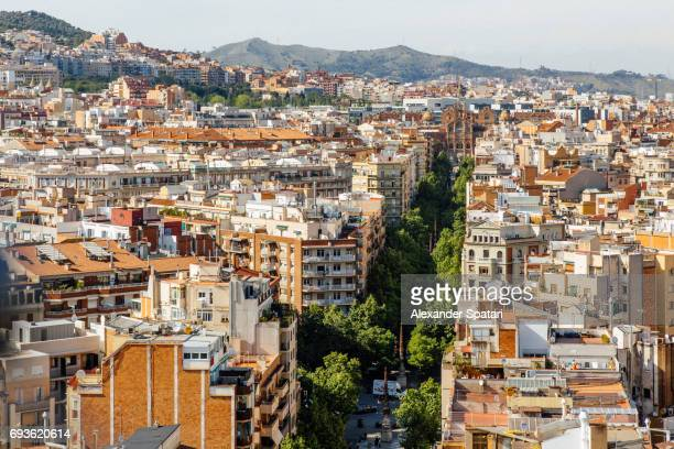 Streets of Barcelona, high angle view, Catalonia, Spain