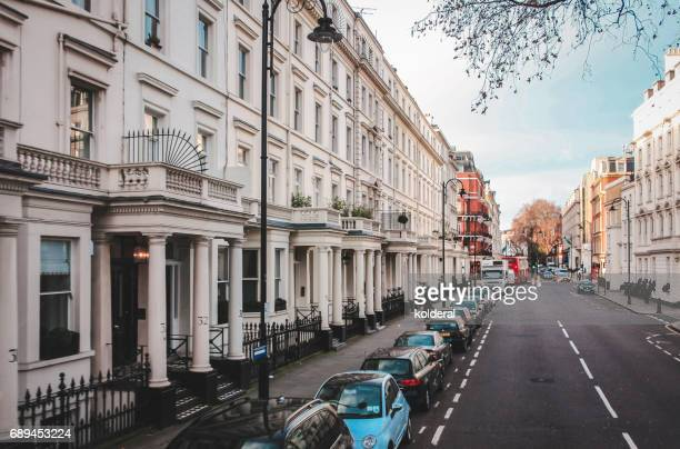 Streets of City of Westminster Bayswater district during early morning, London, UK