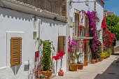 The colourful street of Elvissa the old town on Ibiza Island, Spain