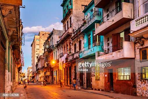 streets of havana, cuba at dusk