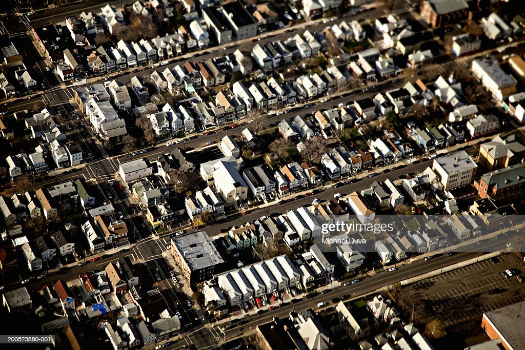 Streets of houses, aerial view : Stock Photo