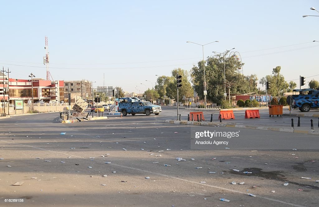 Streets of Kirkuk are empty due to the clashes between Iraqi security forces and Daesh for two days, during the curfew in Kirkuk, Iraq on October 22, 2016.