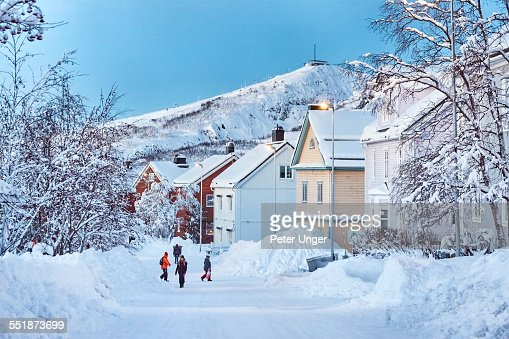 Streets of Kiruna covered in snow