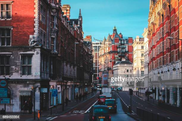 Streets of London early morning with buildings of Victorian period, UK