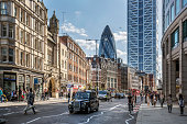 View of Bishopsgate street at the financial district of London.