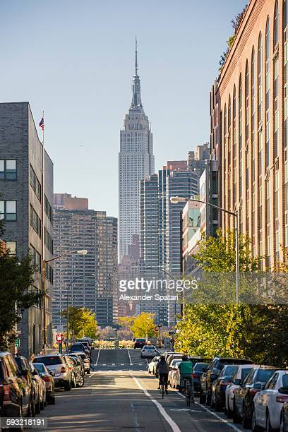 Streets of Queens with Manhattan skyline, New York