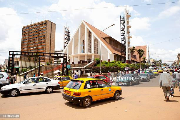 Streetscene with Cathedral, Yaounde Cameroon