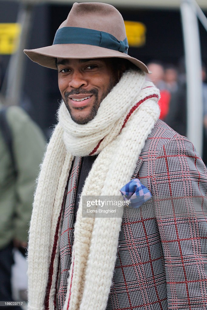 Streetstyle photographer Karl-Edwin Guerre attends the Pitti Immagine Uomo 83 on January 9, 2013 in Florence, Italy.