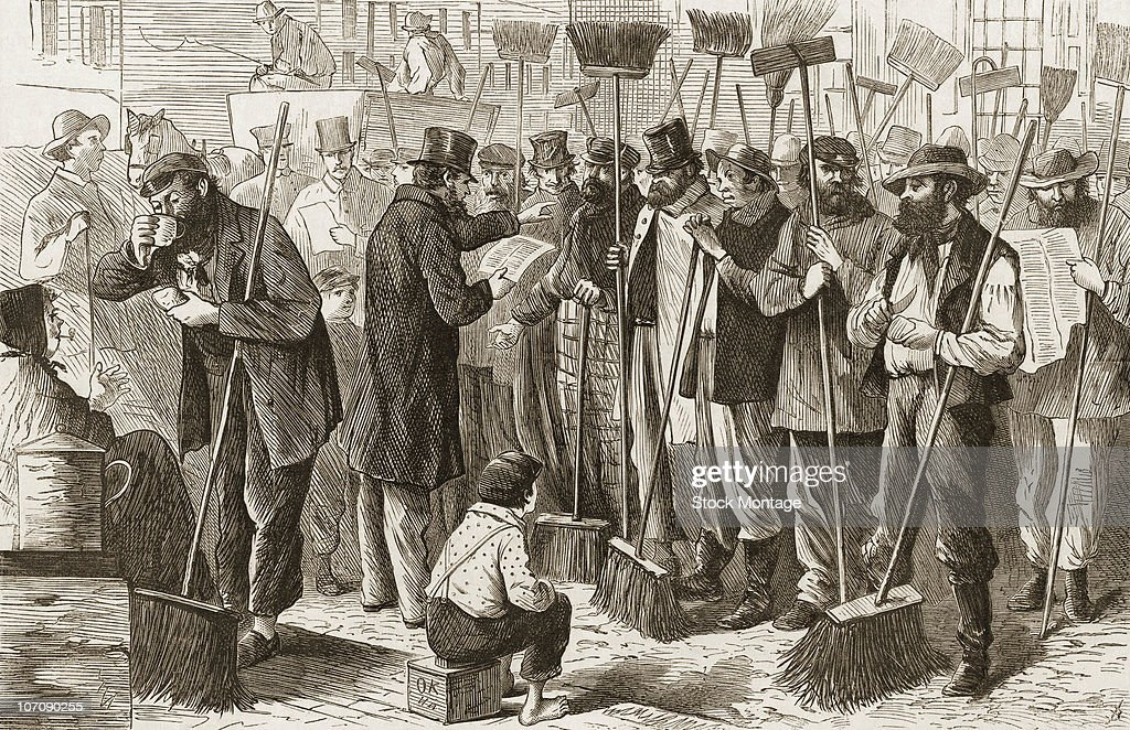 Streetsweepers answering to the Inspector's callroll New York circa 1868