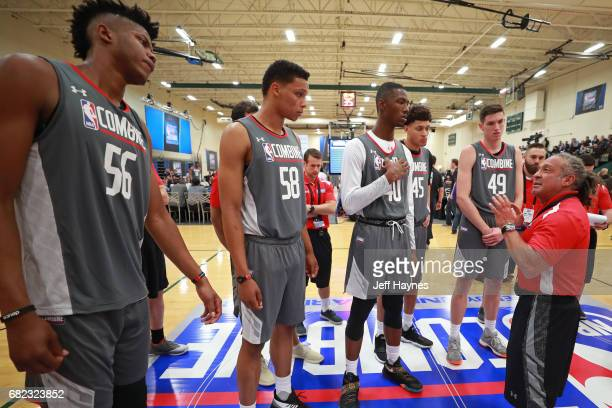 Strength Conditioning coach Steve Hess leads drills during the NBA Draft Combine at the Quest Multisport Center on May 11 2017 in Chicago Illinois...