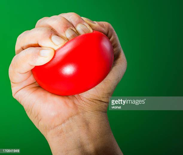 Stress ball in hand