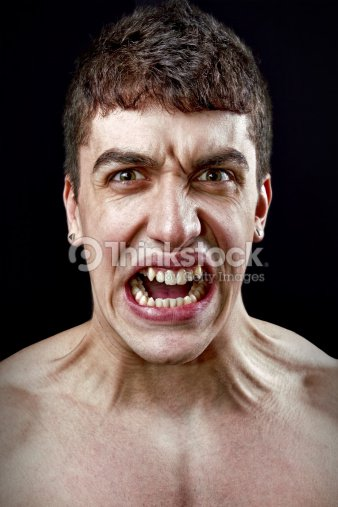 Stress concept - angry furious mad man : Stock Photo