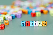 Stress word on colorful dices