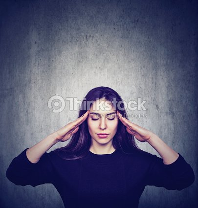Stressed anxious woman with headache : Stock Photo