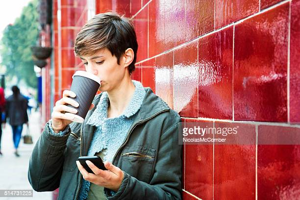 Stressed woman reading emails on phone