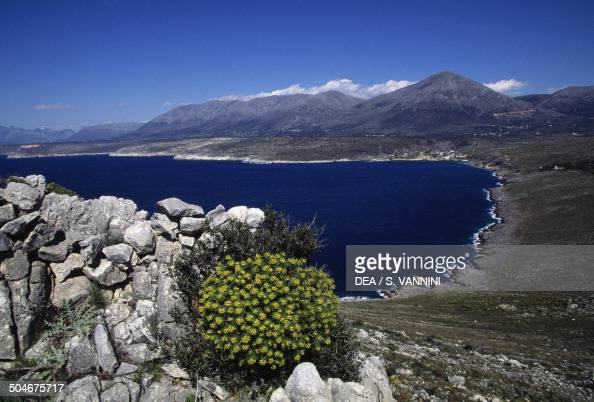 Stretch of coastline Mani Peninsula Peloponnese Greece