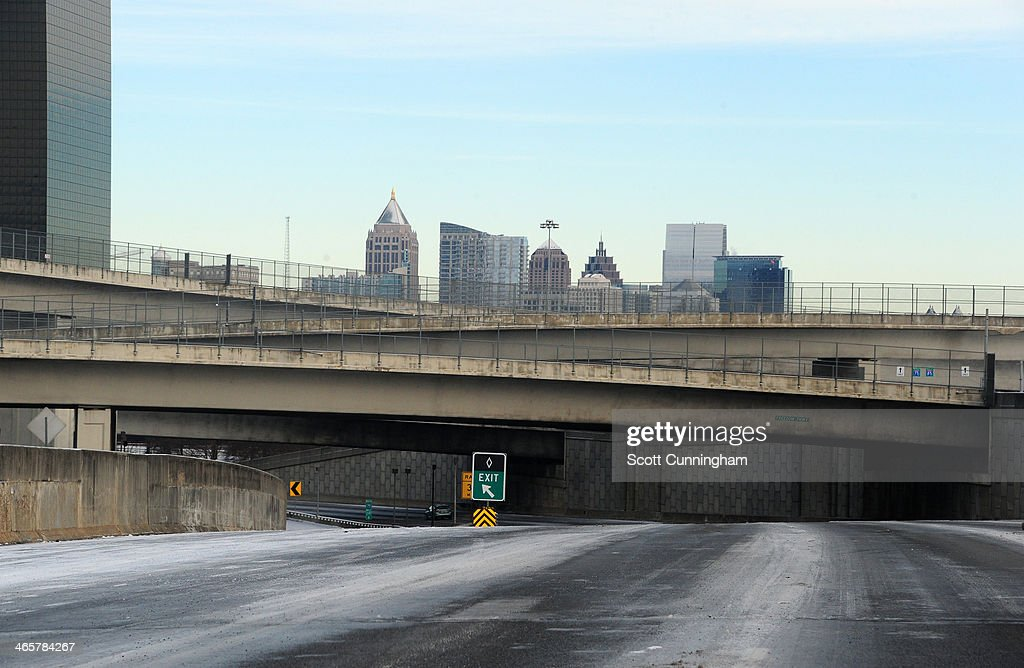 A stretch of Interstate 75 sits empty in icy conditions January 29, 2014 in Atlanta, Georgia. Thousands of motorists were stranded, many overnight, as a winter storm dropped three inches of snow, and ice made driving hazardous.