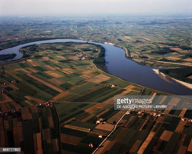 Stretch of the Po River in the Piacenza countryside EmiliaRomagna Italy