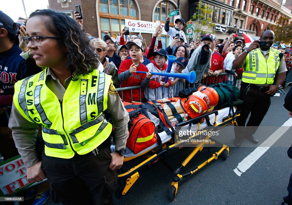A stretcher sits on Boylston Street during the World Series victory parade on November 2, 2013 in Boston, Massachusetts.