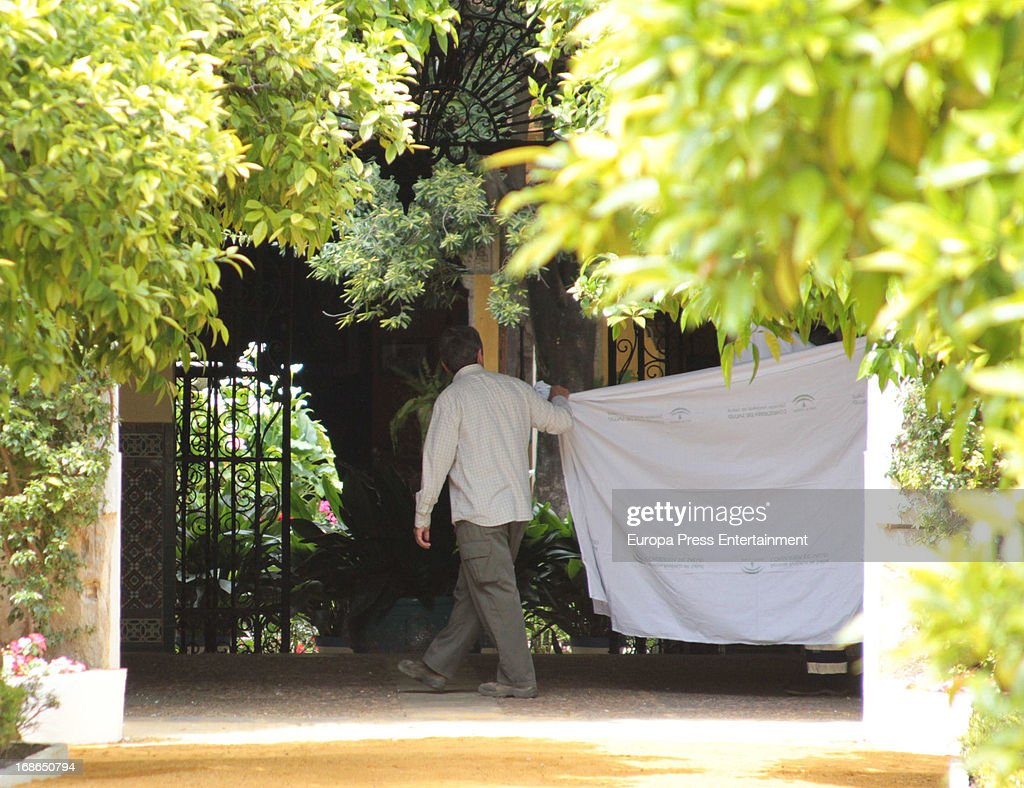 Stretcher where Duchess of Alba Cayetana Fitz James Stuart lies downon April 30, 2013 in Seville, Spain.