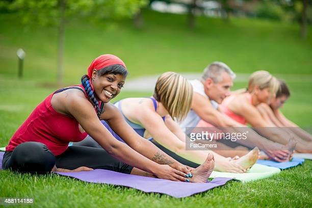 Stretches During Outdoor Yoga Class