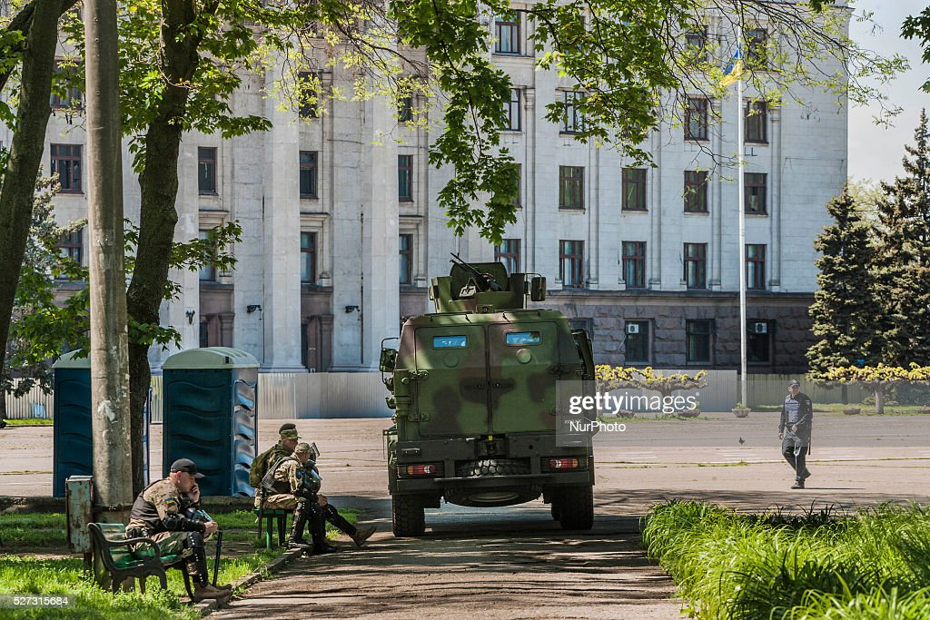 Strict security measures with army armoured vehicles in the entrance of the Kulikovo Pole square during the remembrance of the deaths in the Trade Unions House clashes in Odessa, southern Ukraine, on May 2, 2016. The square was closed with strong security measures because a bomb threat.
