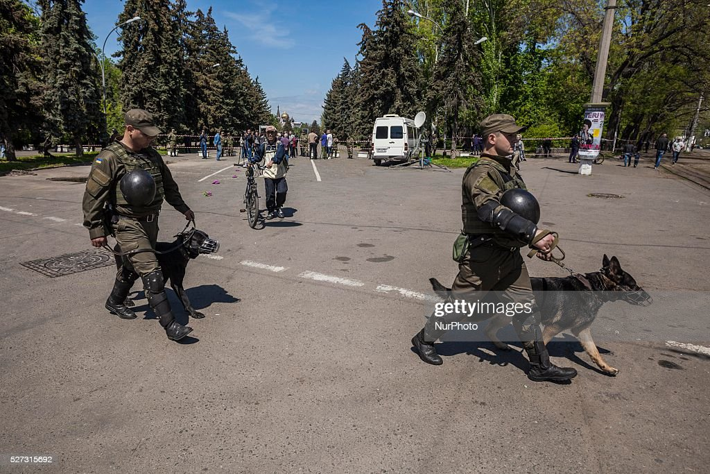 Strict security measures with policemen with dogs in the entrance of the Kulikovo Pole square during the remembrance of the deaths in the Trade Unions House clashes in Odessa, southern Ukraine, on May 2, 2016. The square was closed with strong security measures because a bomb threat.