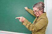 Strict teacher pointing at student