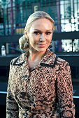 Strictly Come Dancing professional dancer Kristina Rihanoff wears all Julien Macdonald on day 2 during London Fashion Week Spring/Summer 2016/17 on...