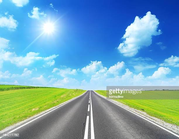 Stright Highway - Spring Landscape