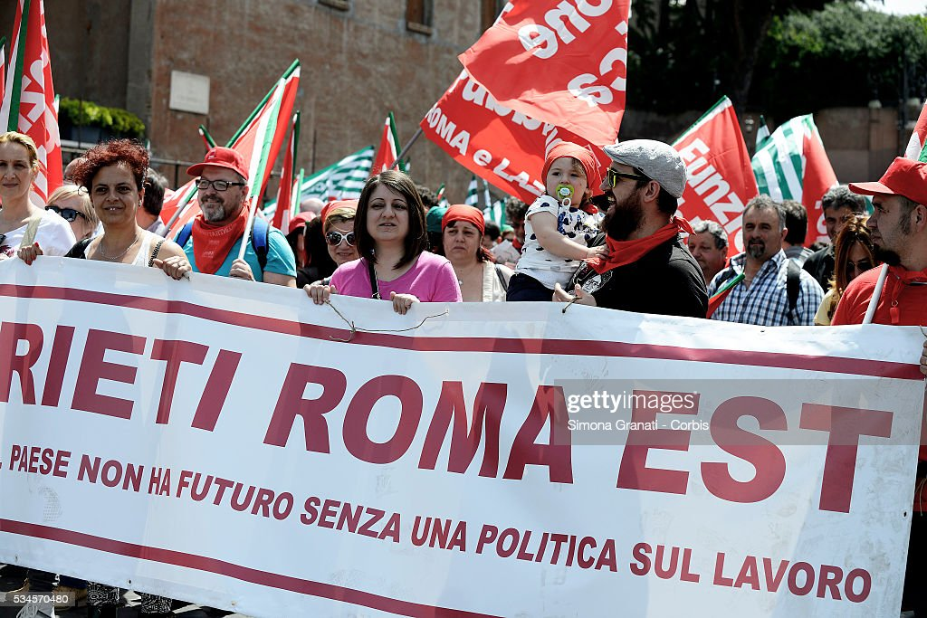 Strike and march of the employees of public services for the renewal of the contract organized by the trade unions CGIL, CISL and UIL'on May 25, 2016 in Rome, Italy.