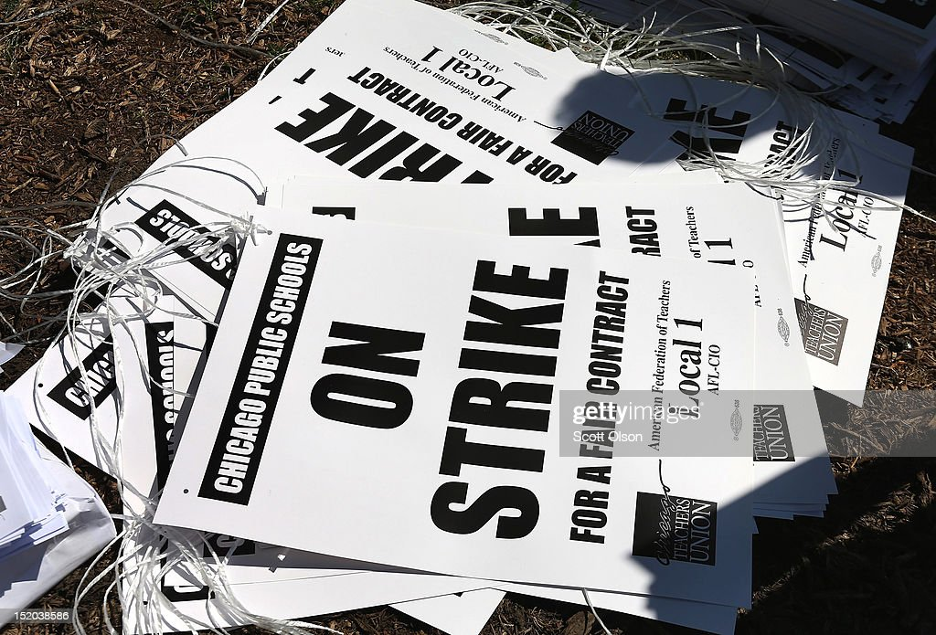 Strike posters lay on the ground in Union Park where Chicago public school teachers and their supporters were holding a rally September 15 2012 in...
