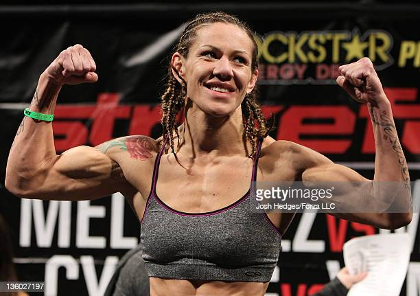 Strikeforce Womens Featherweight Champion Cristiane 'Cyborg' Santos weighs in during the Strikeforce Official Weigh In at the Valley View Casino...