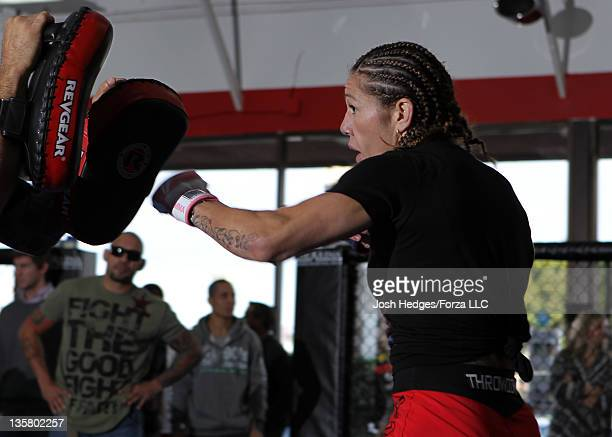 Strikeforce Women's Featherweight Champion Cristiane 'Cyborg' Santos works out for the media at the Strikeforce Open Workouts at the Arena MMA Gym on...
