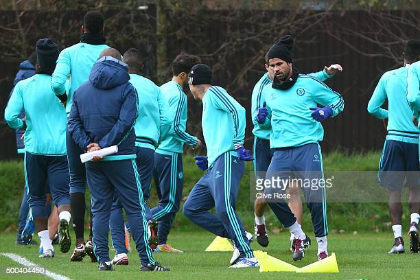 Striker Diego Costa warms up during the Chelsea training session at the Chelsea Training Ground on December 8 2015 in Cobham England