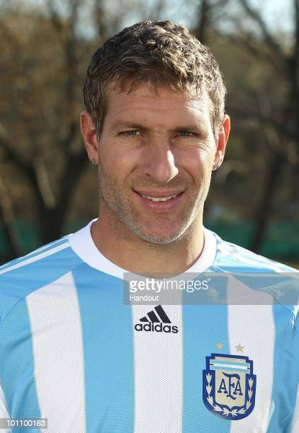Striker Martin Palermo of Argentina's National team for the 2010 FIFA World Cup South Africa poses during a photo session on May 26 2010 in Buenos...