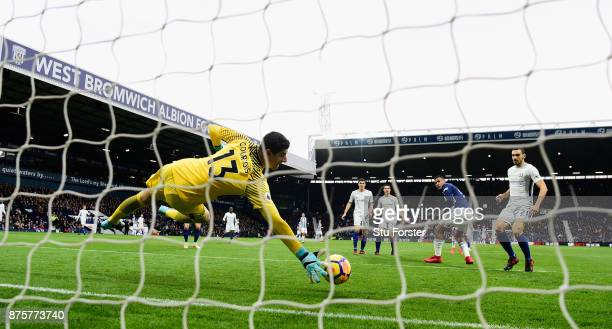 WBA striker Salomon Rondon heads past Thibault Courtois but the goal is ruled out during the Premier League match between West Bromwich Albion and...