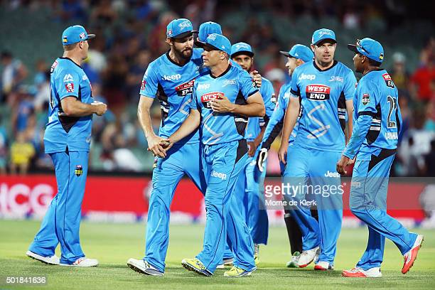 Strikers players celebrate after the Big Bash League match between the Adelaide Strikers and the Melbourne Stars at Adelaide Oval on December 18 2015...