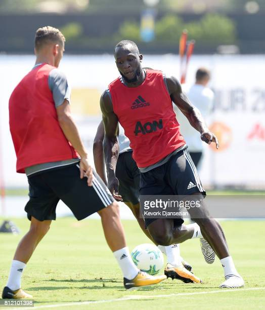 Strikers Romelu Lukaku and Marcus Rashford of Manchester United during training for Tour 2017 at UCLA's Drake Stadium July 10 in Los Angeles...