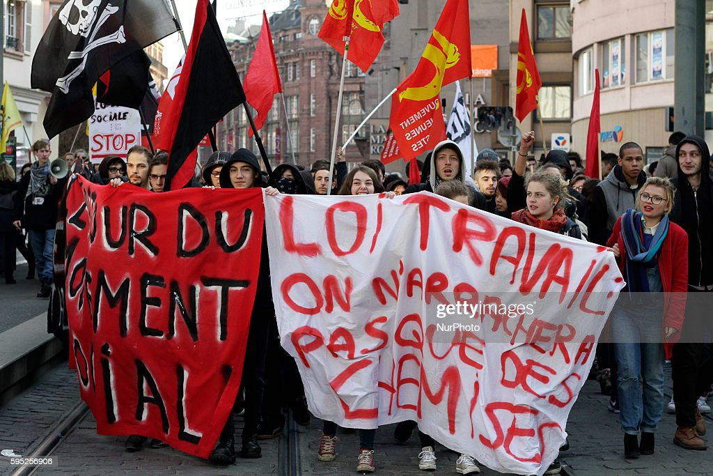 Strikes and protest in Strasbourg France on March 9 2016 against the reform of the labor code throughout France similar events require the withdrawal...