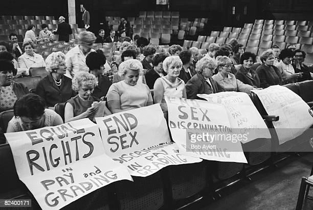 Striking female machinists from the Ford plant in Dagenham attend a women's conference on equal rights in industry at Friends House Euston 28th June...